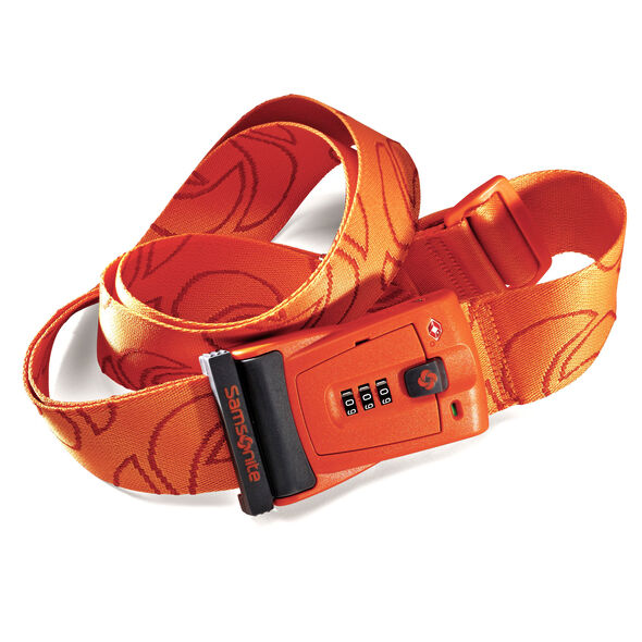 Samsonite Travel Sentry 3-Dial Combo Luggage Strap in the color Juicy Orange.