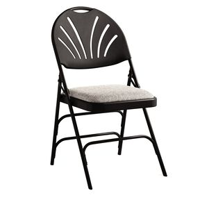 Samsonite XL Fanback Steel & Fabric Folding Chair (Case/4) in the color Black/Neutral.
