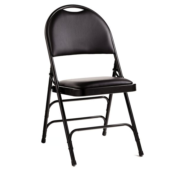Samsonite Comfort Series Steel & Bonded Leather Folding Chair w/Memory Foam (Case/4) in the color Black.