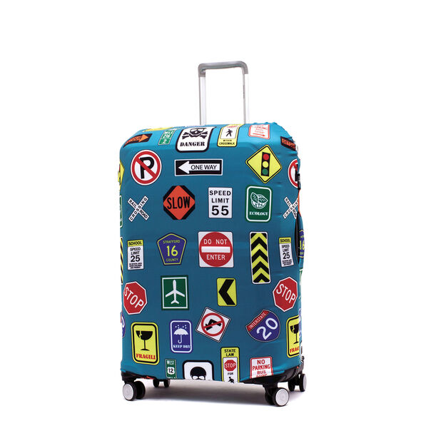 Printed Luggage Cover - M in the color Street Signs.