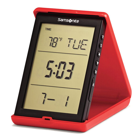 Travel Accessories Digital Alarm Clock in the color Red/Black.