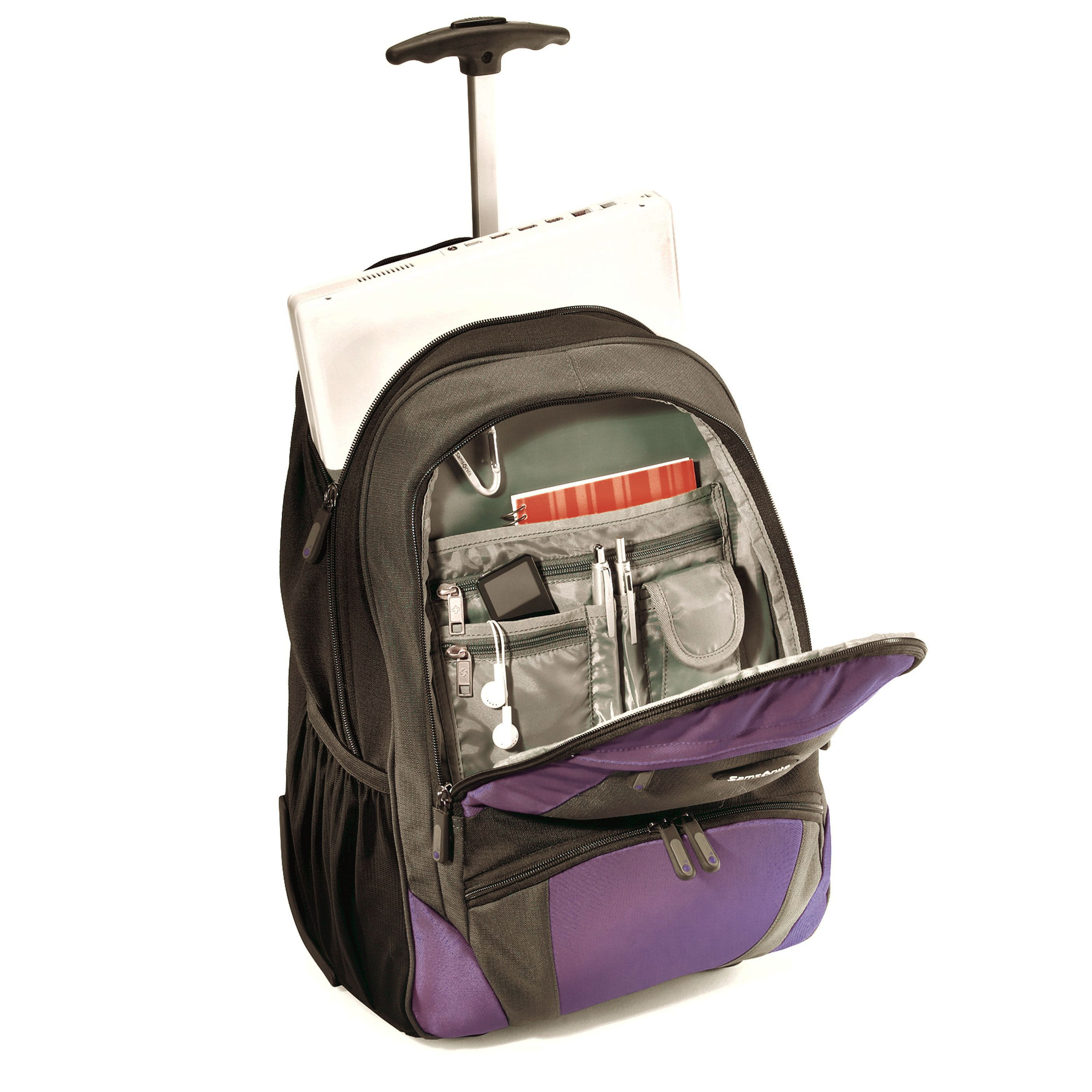 samsonite wheeled computer backpack in the color lavender and black