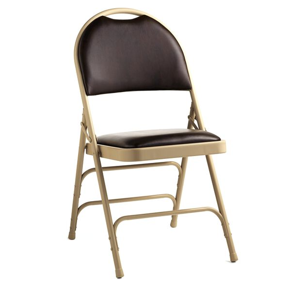Samsonite Comfort Series Steel & Bonded Leather Folding Chair w/Memory Foam (Case/4) in the color Chocolate.