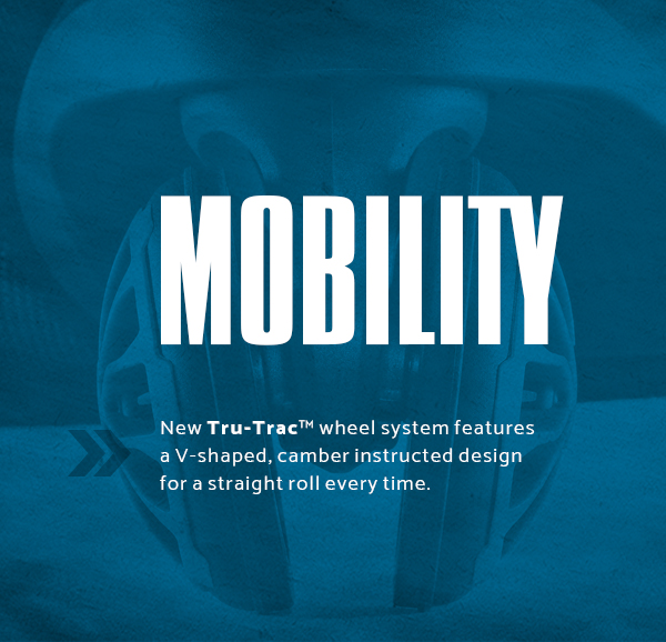 Samsonite Silhouette XV - Mobility. New Tru-Trac™ wheel sustem features a v-shaped, camber instructed design for a straight roll every time