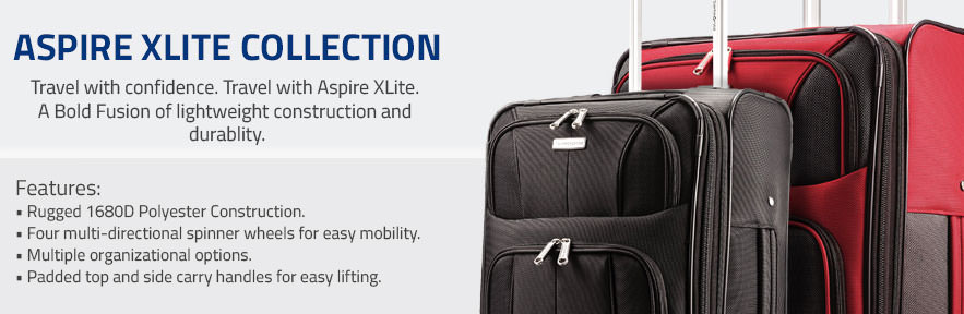 Samsonite's Aspire XLite Collection. Travel with confidence. Travel with Aspire XLite. A Bold Fusion of lightweight construction and durablity.