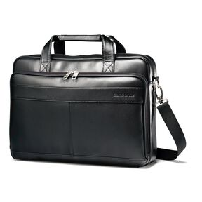 Samsonite Leather Slim Brief in the color Black.