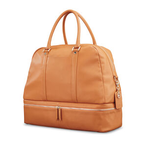 Samsonite Ladies Leather Zip Weekender in the color Cognac.