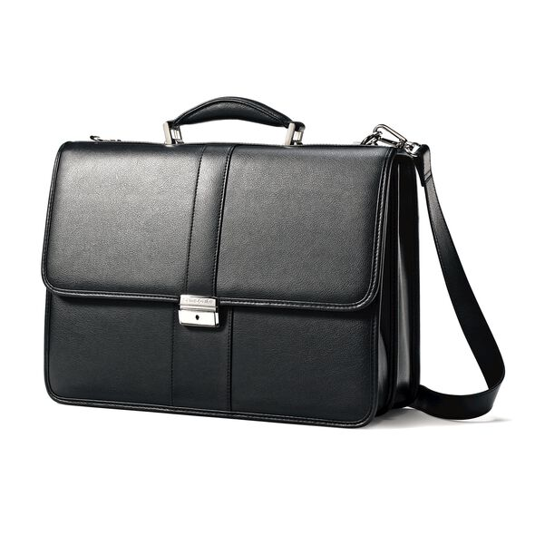 Samsonite Leather Flapover Case in the color Black.