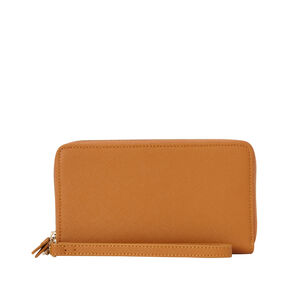 Samsonite Ladies Leather Zip Tech Wristlet in the color Cognac.