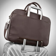 Samsonite Mens Leather Classic Slim Briefcase in the color Dark Brown.