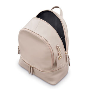 Ladies Leather City Backpack in the color Light Grey.