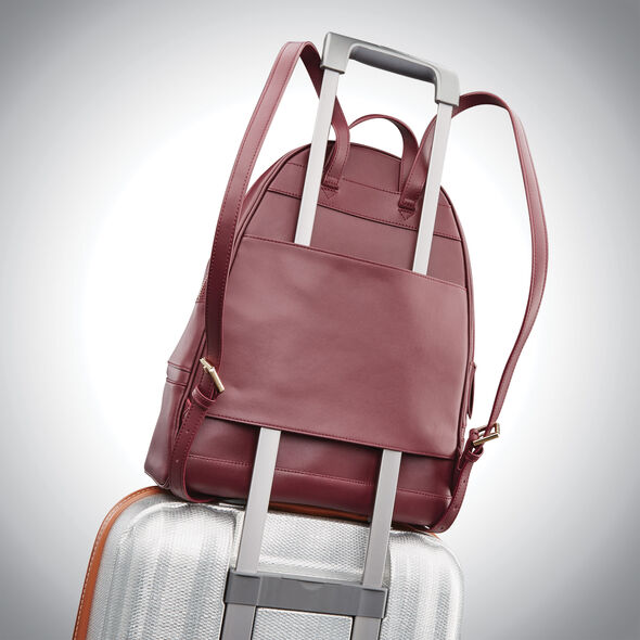 Samsonite Ladies Leather City Backpack in the color Sangria.
