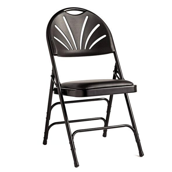 Samsonite Fanback Steel & Leather Memory Foam Folding Chair (Case/4) in the color Black.