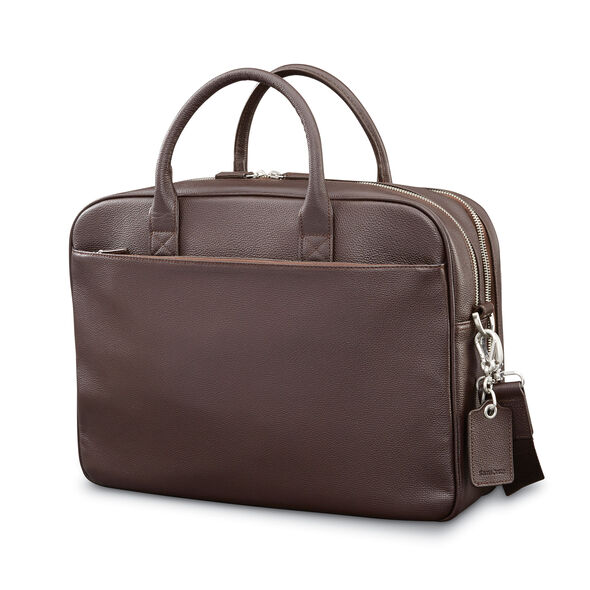 Samsonite Mens Leather Classic Double Compartment Briefcase in the color Dark Brown.