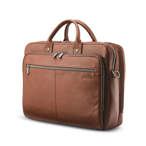 Samsonite Classic Leather Toploader in the color Cognac.