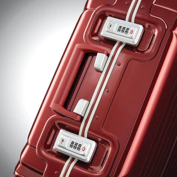 "Samsonite Tru-Frame 20"" Spinner in the color Dark Red."