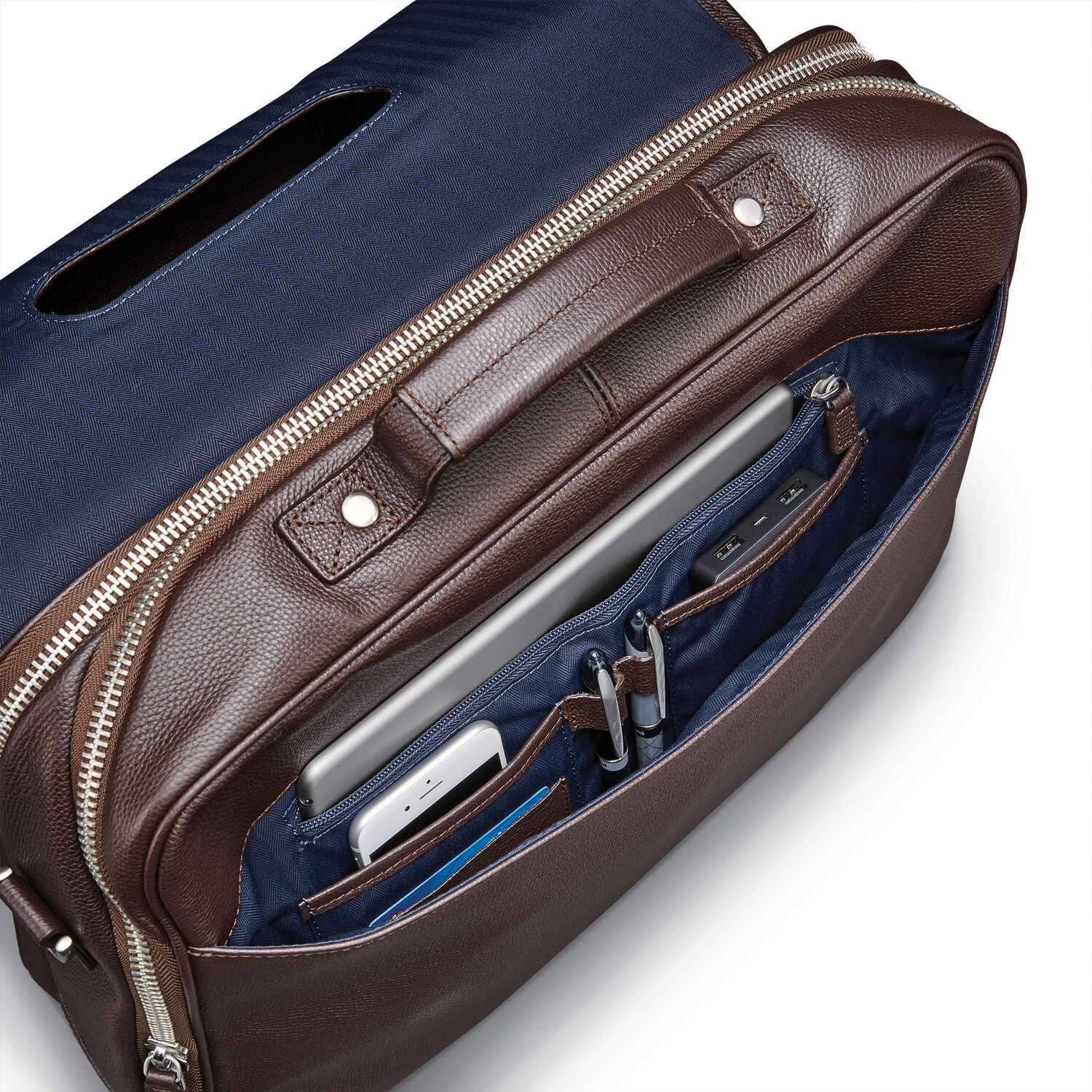 9e655bb66d7 Samsonite Mens Leather Classic Flap Briefcase in the color Dark Brown.
