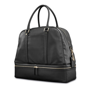 Samsonite Ladies Leather Zip Weekender in the color Black.