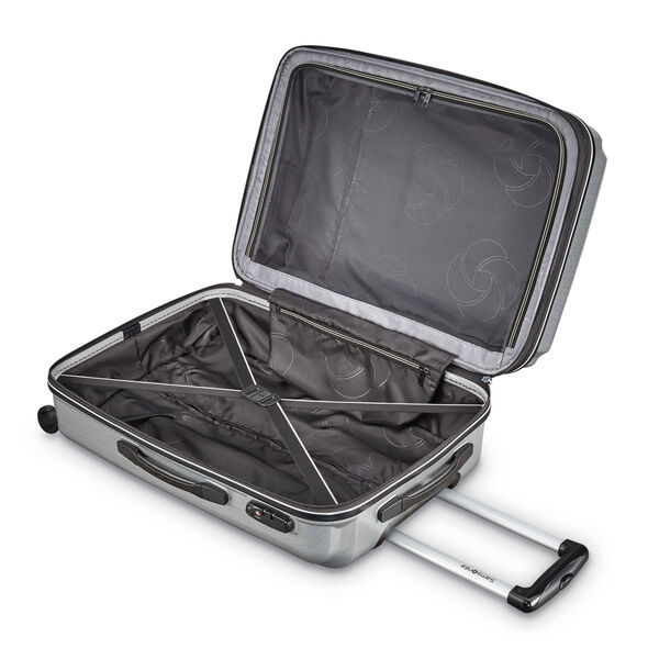 "Samsonite Pivot 20"" Spinner in the color Brushed Silver."