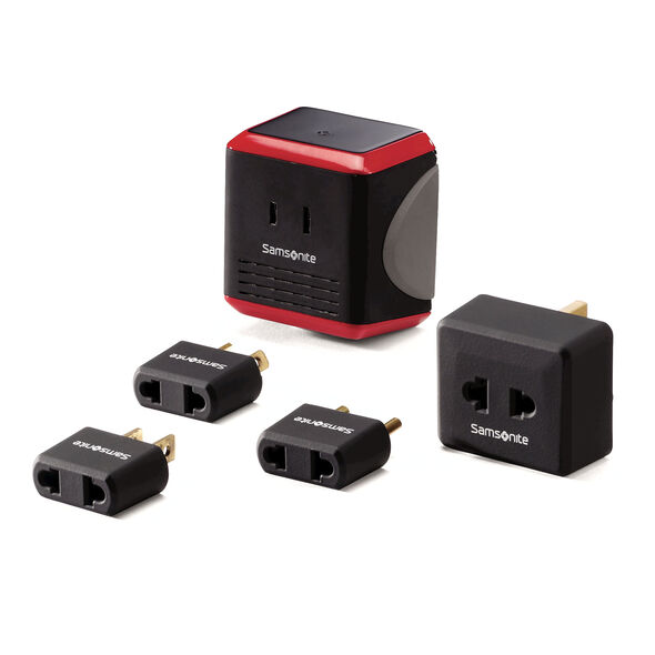 Samsonite Converter/Adapter Plug Kit with Pouch in the color Black/Red.