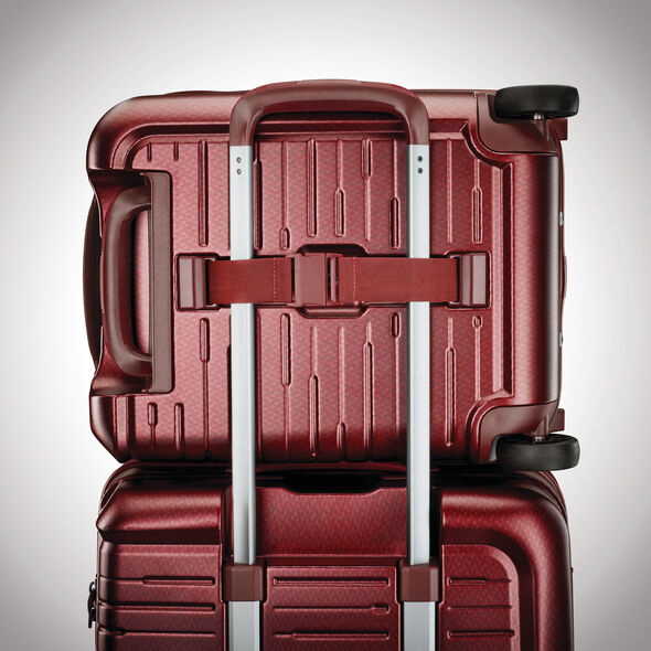 Samsonite Silhouette 16 Wheeled Hardside Underseater in the color Cabernet Red.