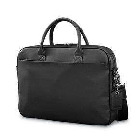 Samsonite Mens Leather Classic Slim Briefcase in the color Black.