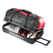"""Samsonite Andante 28"""" Drop Bottom Wheeled Duffle in the color Black/Red."""