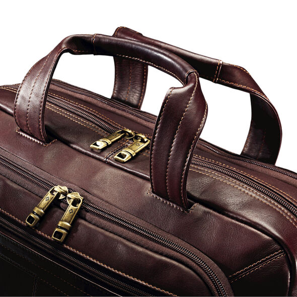 Samsonite Colombian Leather Zip Toploader in the color Brown.