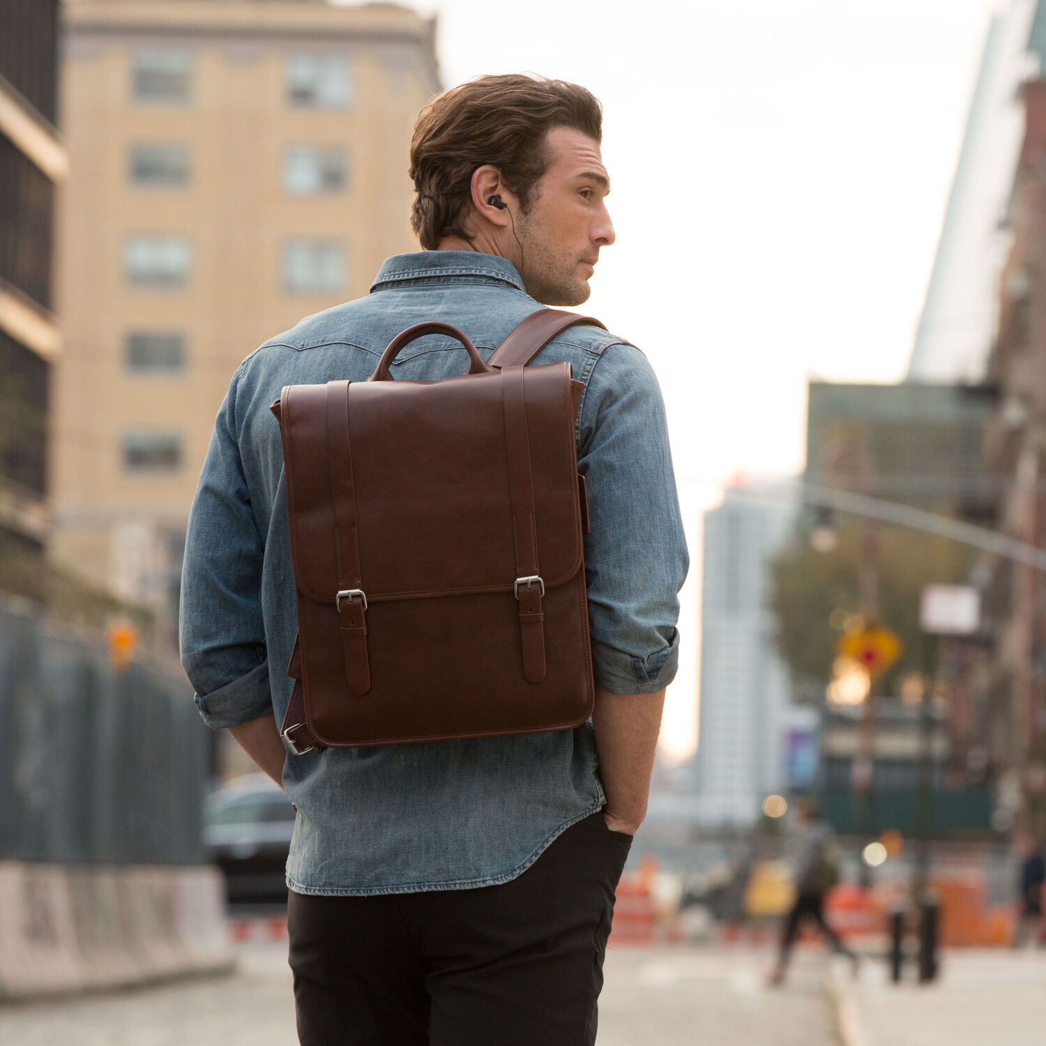 abcc448d2d Samsonite Mens Leather 1910 Heritage Backpack in the color Chestnut.