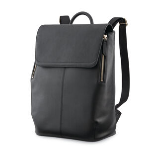 Ladies Leather Flap Backpack in the color Black.