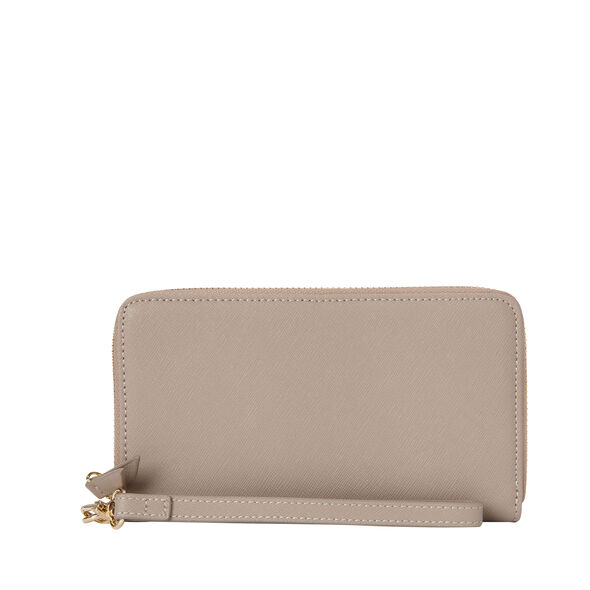 Samsonite Ladies Leather Zip Tech Wristlet in the color Light Grey.