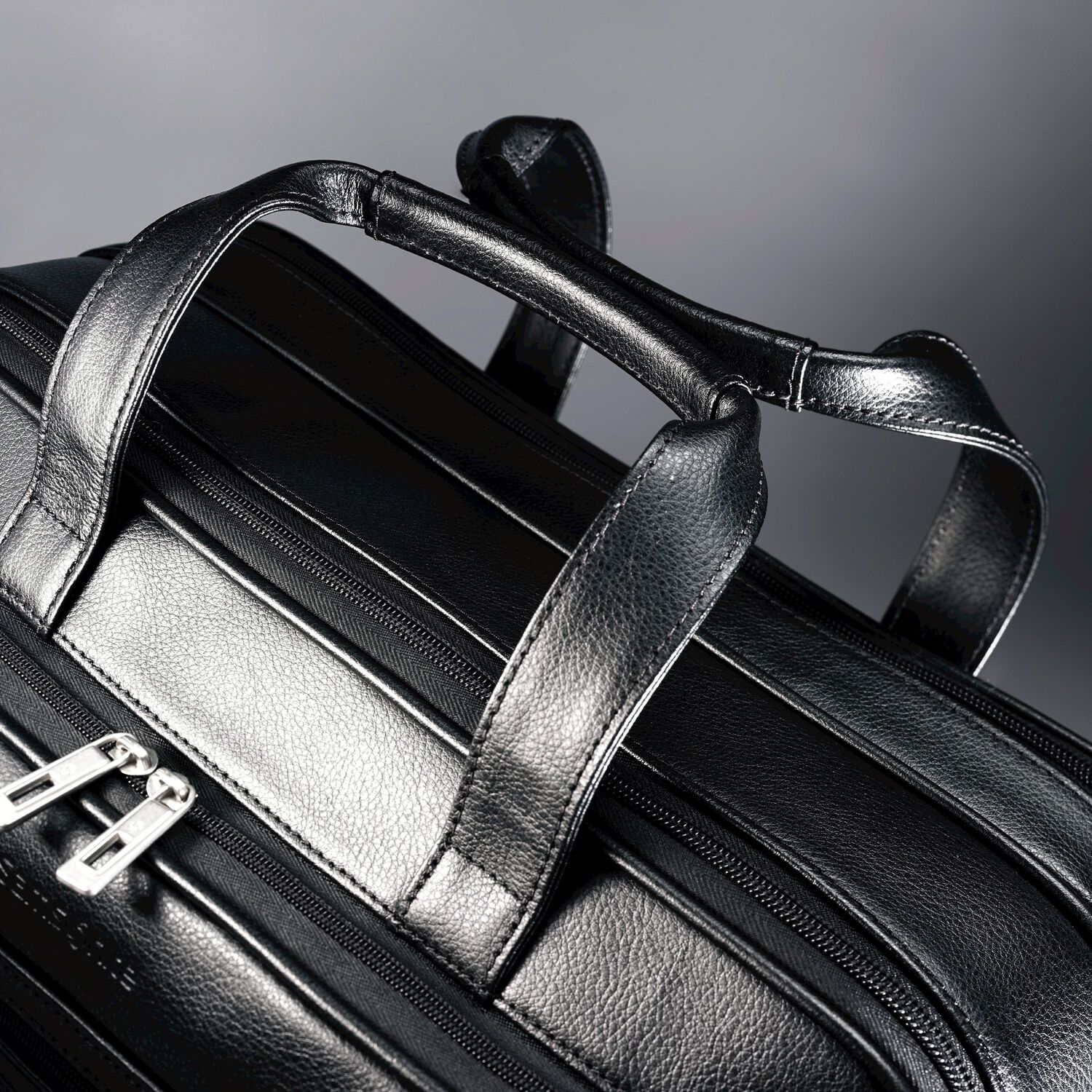Samsonite Leather Expandable Business Case in the color Black. 24128fdb48b31