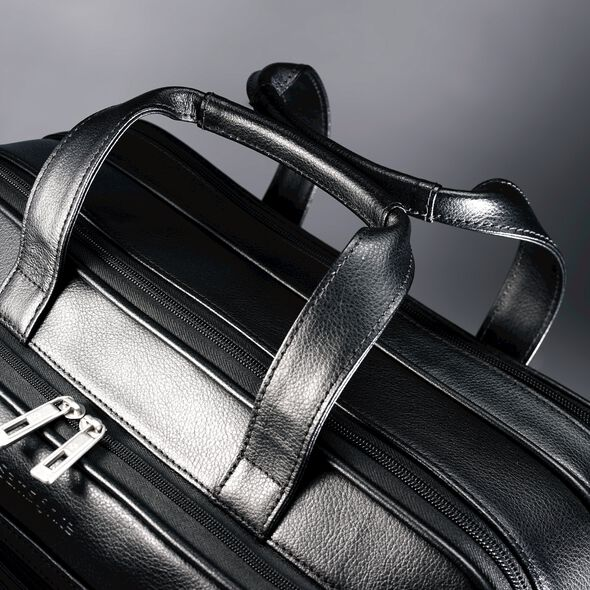 Samsonite Leather Expandable Business Case in the color Black.