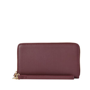 Ladies Leather Zip Tech Wristlet in the color Sangria.