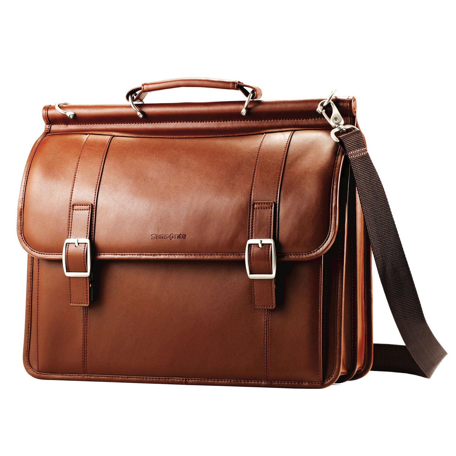 a43392b9d3f8 Samsonite Leather Dowel Flapover Business Case