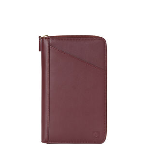 Leather Zip Travel Wallet in the color Sangria.