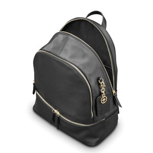 Ladies Leather City Backpack in the color Black.
