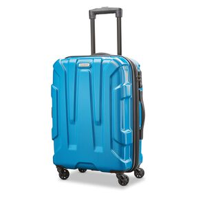"Samsonite Centric 20"" Spinner in the color Caribbean Blue."