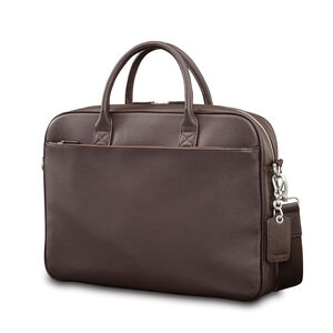 Mens Leather Classic Slim Briefcase in the color Dark Brown.
