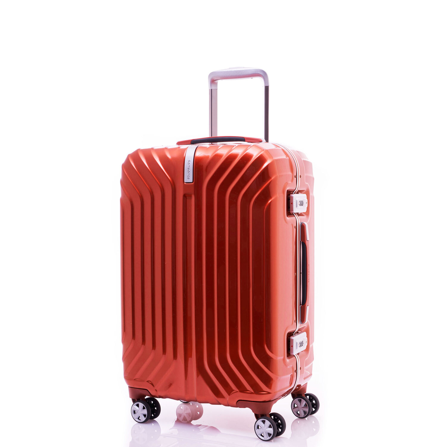 "Samsonite Tru-Frame Collection 20"" Spinner in the color Flame Orange."