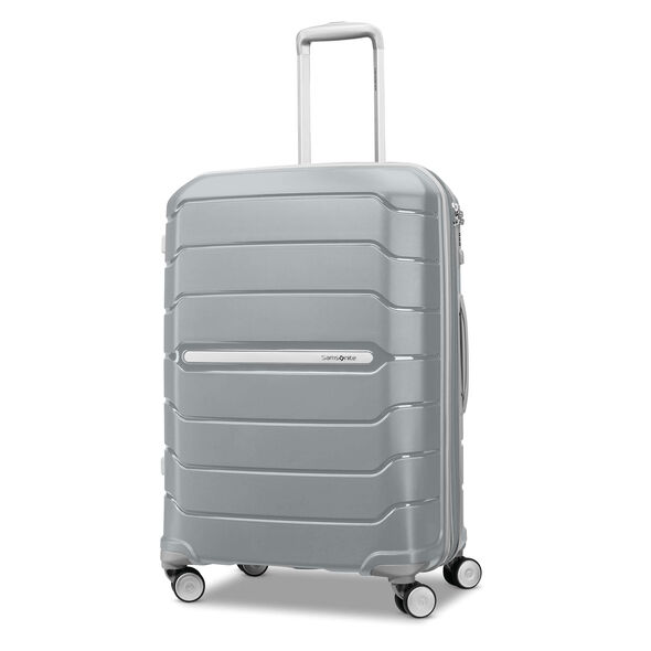 "Samsonite Freeform 24"" Spinner in the color Silver."