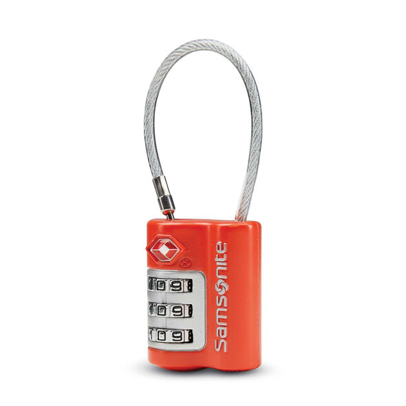 Samsonite 3 Dial Combination Cable Lock in the color Varsity Red.