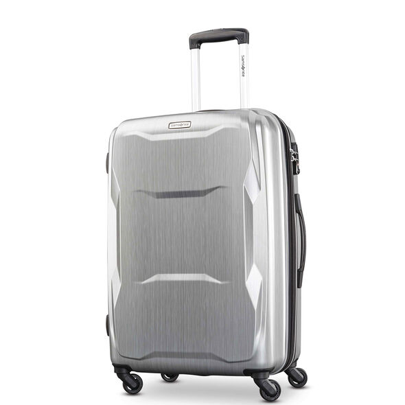 "Samsonite Pivot 25"" Spinner in the color Brushed Silver."