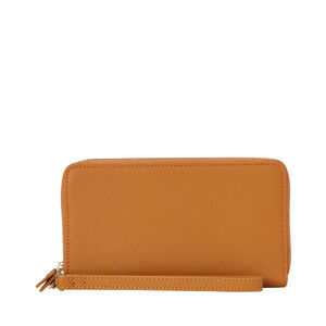 Ladies Leather Zip Tech Wristlet in the color Cognac.