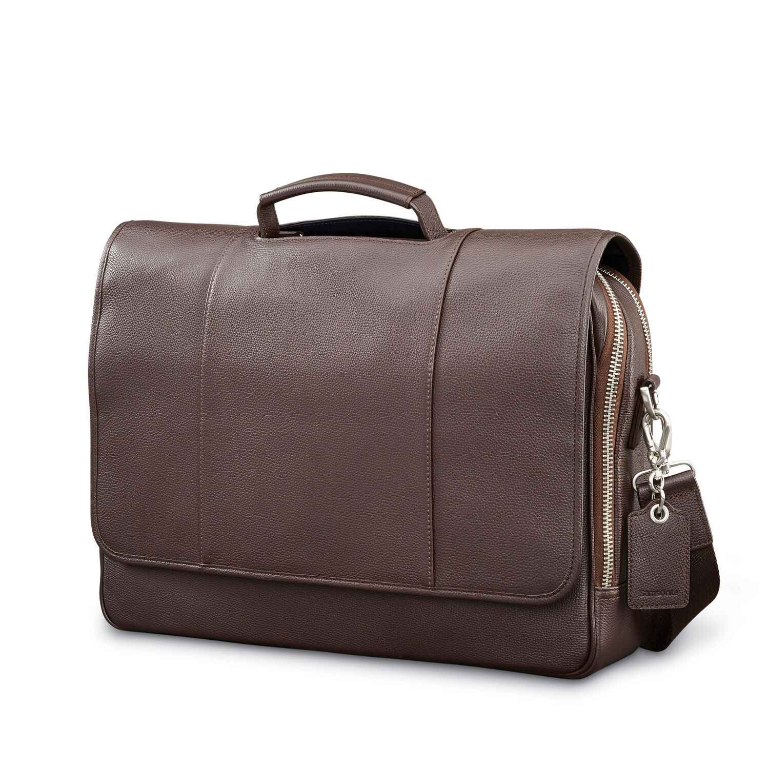 Samsonite Mens Leather Classic Flap Briefcase in the color Dark Brown. 2f6b75ed7be3a