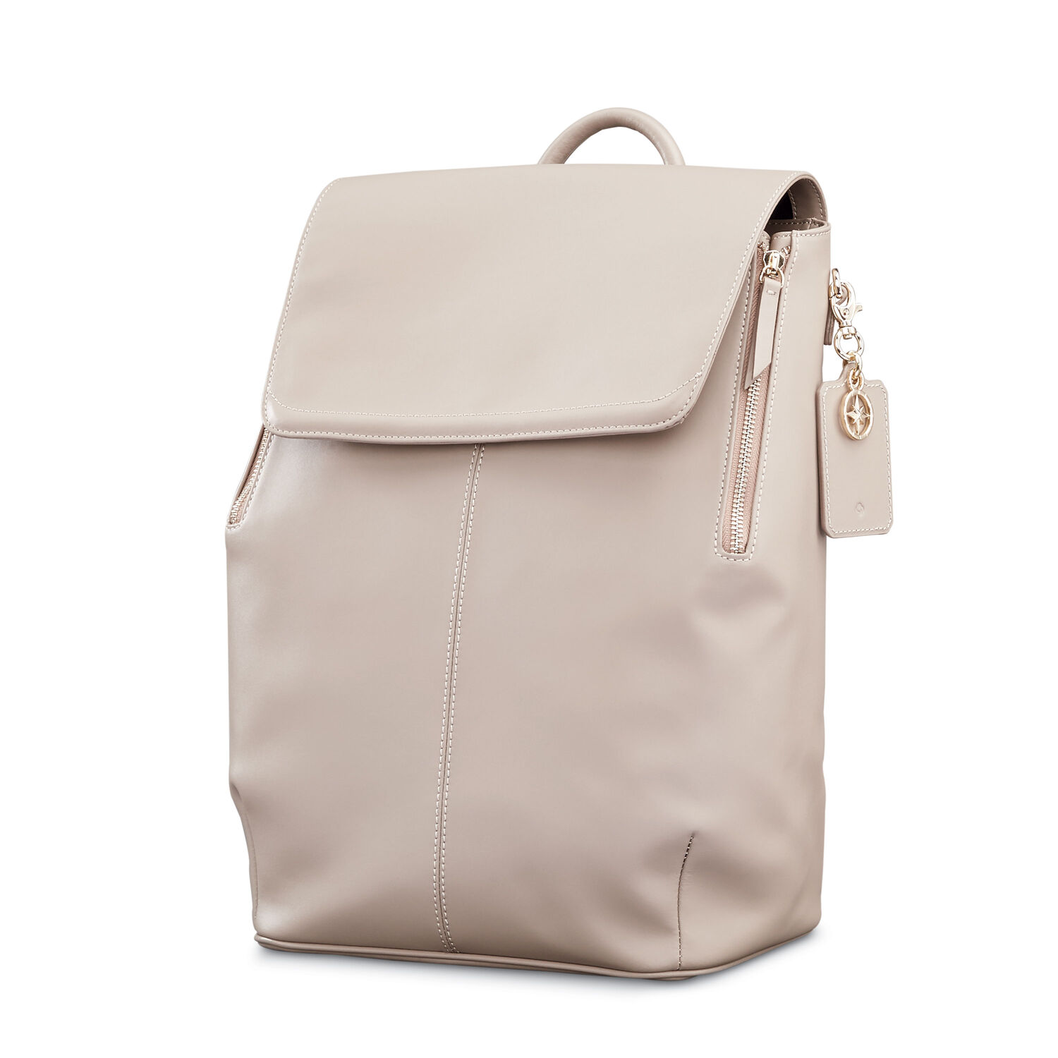 bb147691b361 Samsonite Ladies Leather Hamptons Backpack in the color Light Grey.