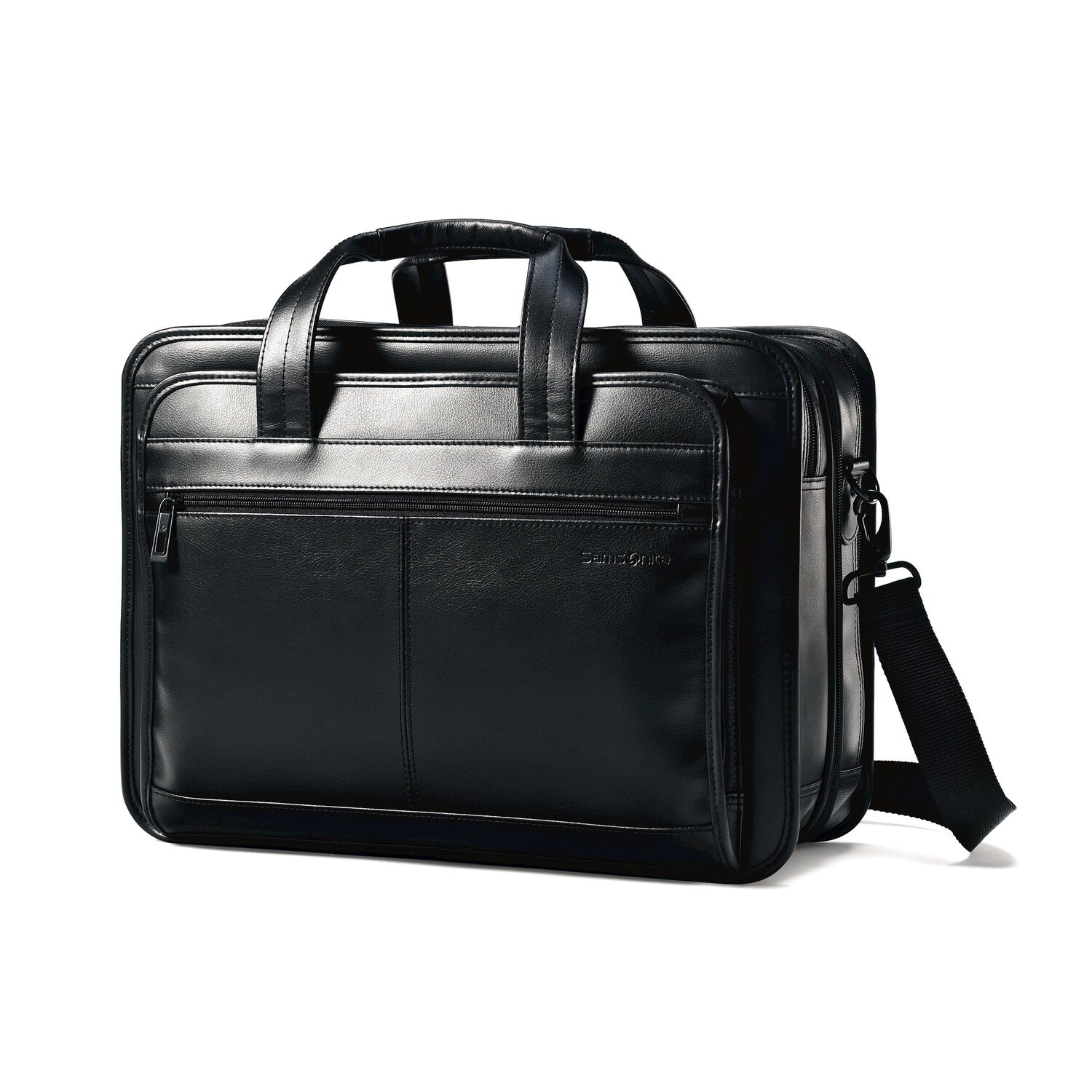0f18f21f63 Samsonite Leather Expandable Business Case in the color Black.