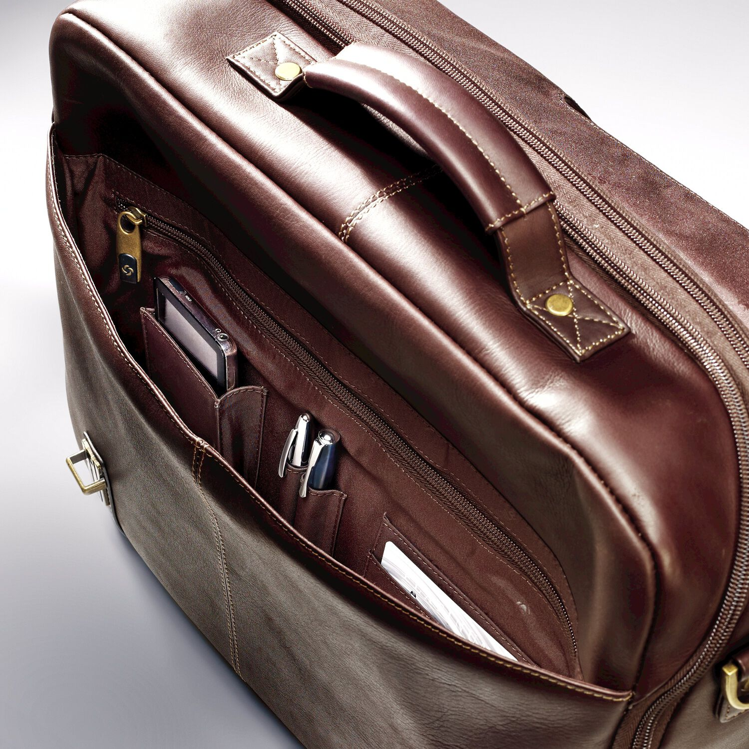 Samsonite Leather Flapover Case Double Gusset In The Color Brown
