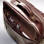 Samsonite Leather Flapover Case Double Gusset in the color Brown.