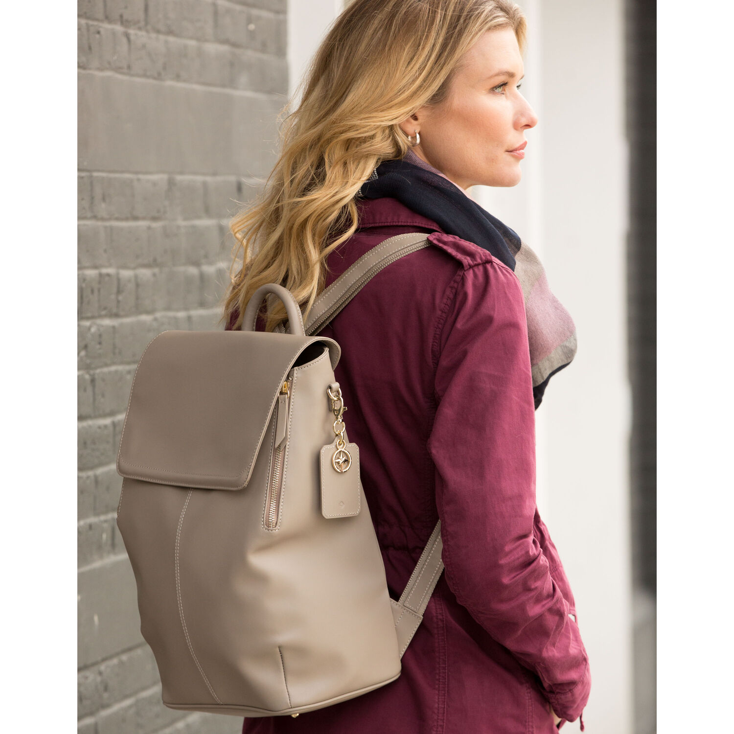 915e06317536 Samsonite Ladies Leather Hamptons Backpack in the color Light Grey.